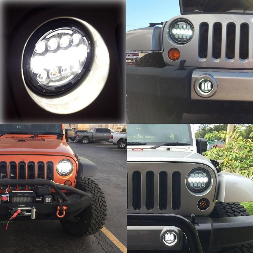 Jeep Wrangler Aplikasi Lampu Led Bulat 7 inci