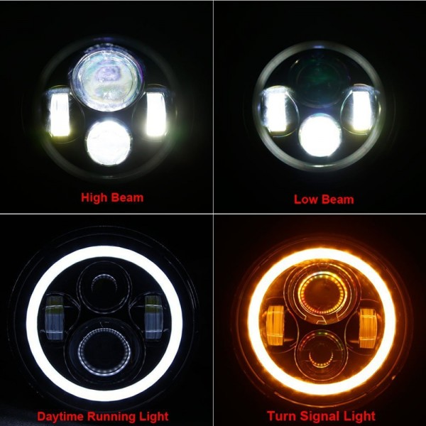 7 pulgada nga Jeep Wrangler Led Headlight Hi / lo Beam