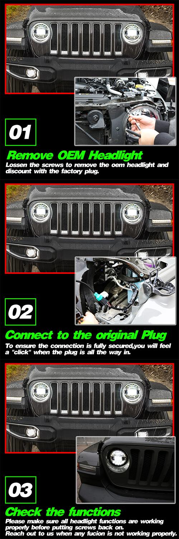 Phares de 7 pouces installés sur Jeep JL