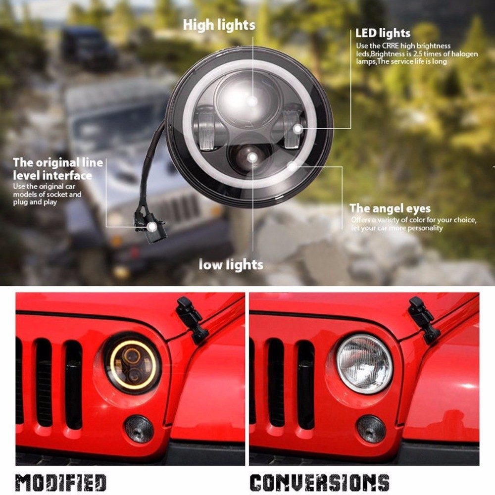 7 pulgada nga Jeep Wrangler Led Headlight