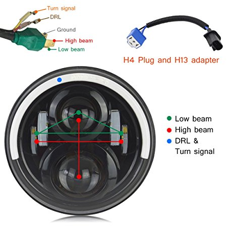 7 inch Jeep Adaptor JK Led Headlight H4-H13