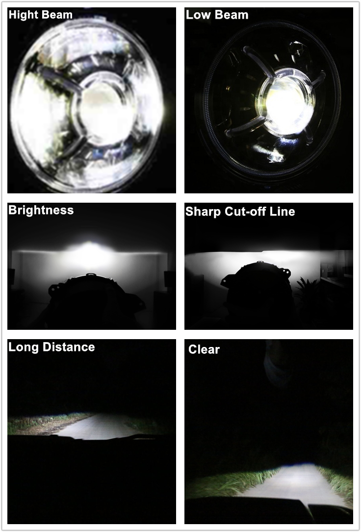 9 inch Jeep Wrangler Led Headlights Hi/lo Beam