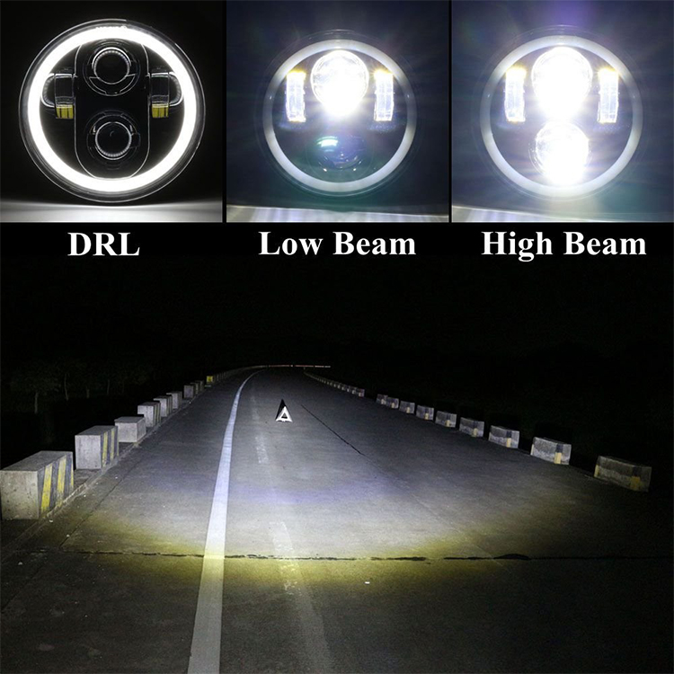 5.75 inch Led Headlight with DRL Turn Signal Halo Ring