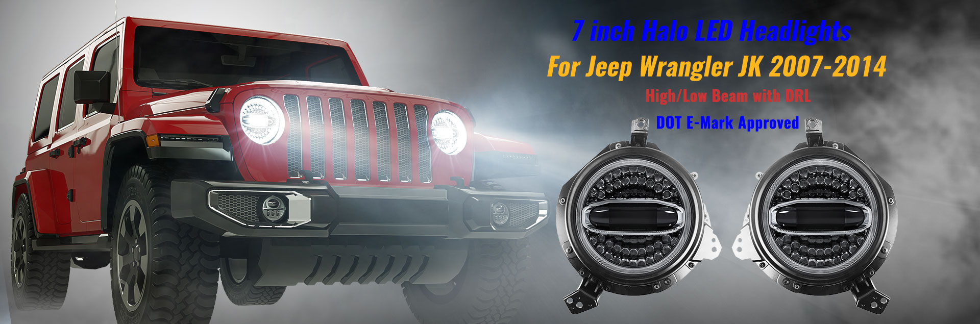 7 inch Halo Led Headlight for Jeep Wrangler JK