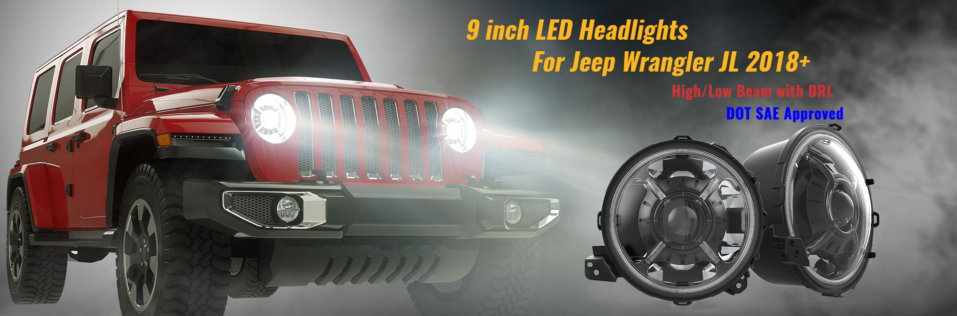 9 inch Halo Led Headlight for Jeep Wrangler JL
