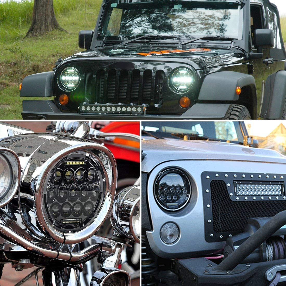 7 Led Head Lights for Jeep Wrangler Application