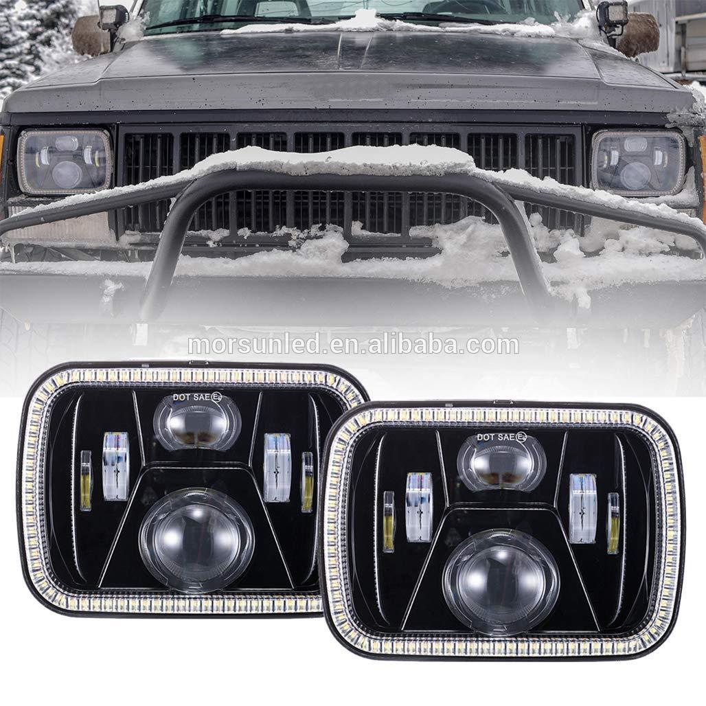 High Quality 5x7 Inch Truck Led Headlight For Jeep Cherokee Xj Gmc Headlamp With Rectangular Halo