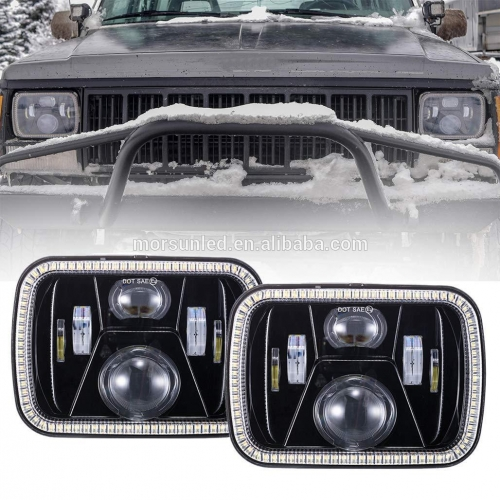 High quality 5x7 inch truck led headlight for jeep cherokee xj/GMC headlamp with rectangular halo ring