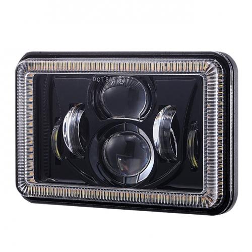 phare LED phare de camion 4x6 pouces avec anneau yeux d'ange pour kenworth