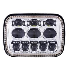 Square 5x7 led headlight untuk cherokee xj hi / lo beam Reflector led headlamp dengan angel eye for jeep aksesoris
