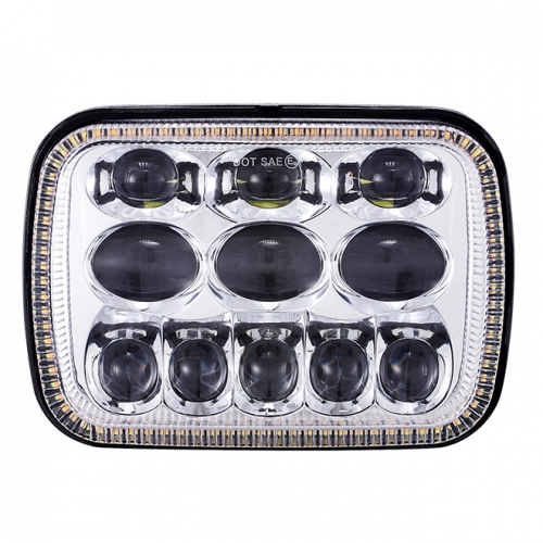 Square 5x7 led headlight for cherokee xj hi/lo beam Reflector led headlamp with angel eye for jeep kagamitan