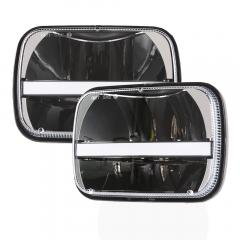Sepasang 5x7 LED Square Headlight untuk Chevrolet YJ untuk Cherokee XJ H4 dengan DRL Angel Eye Headlight
