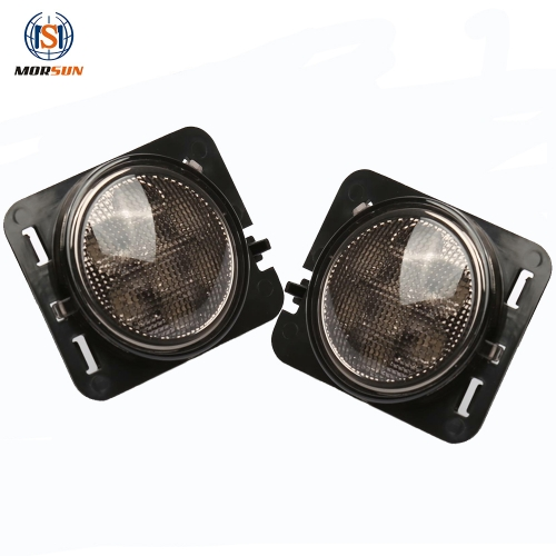 3W Sepasang LED Smoke / Silvery Cover Turn Signal Light Flare Light Amber untuk Jeeps Wrangler 2007-2015