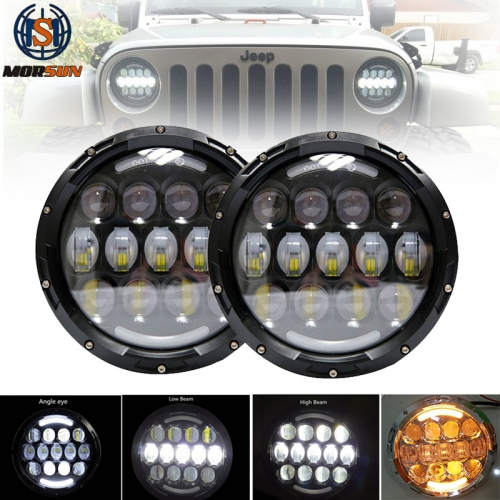 Morsun 7 Inch LED Round 105W Headlight DRL halo Ring Headlamp for Jeep Wrangler Car Motorcycle