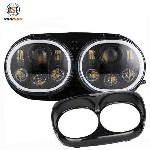 Untuk Harleys-Davidsons Road Glide 5.75 5 3/4 Inch led headlight 12 V 24 V headlamp dengan halo angel eyes