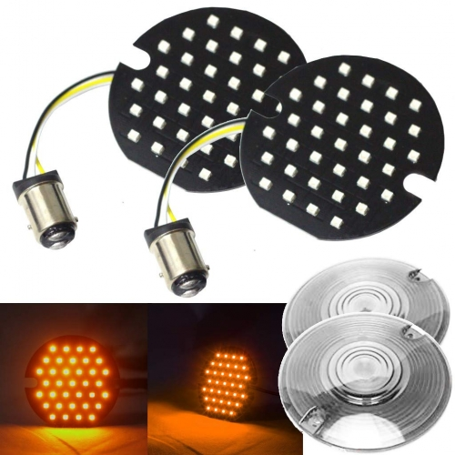 Pair of 3.25 Inch Round LED Signal Light with Red/Amber Light for Harley Motorcycles 3 1/4'' Signal Light