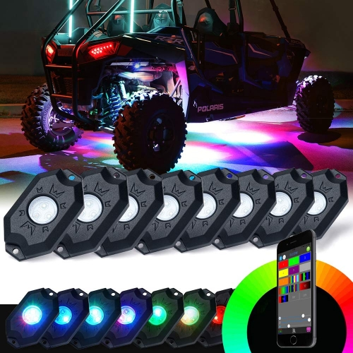 "Kontrol APP Morsun 2 ""RGB mini LED rock light untuk jeep offroad multi warna led rock light 9W Off Road LED Rock Light untuk UTV ATV"