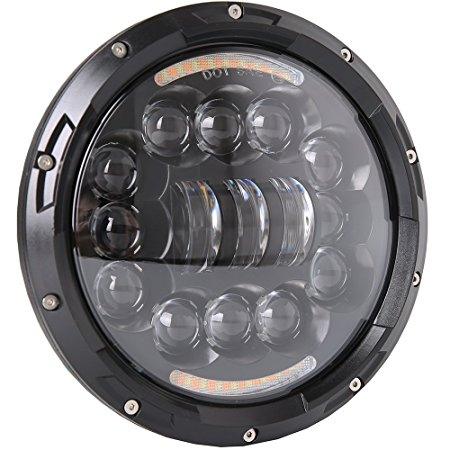 Motorcycle Headlight 7 Inch LED with Halo/Turning Singal Light for Harley/Royal Enfield/Universal