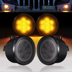 3W Round Led Front Grille Light Turn Signal Light Smoked Lens Amber led Turning Signal lamp for Jeeps wrangler jk 07-14