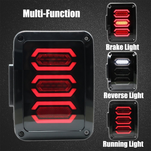 Smoked LED Tail Lights Brake/Reversing/Trun/Driving tail light for Jeep Wrangler JK