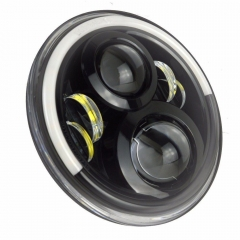 Phare à 7 LED blanc / jaune de conception spéciale demi-halo pour phare Harley-Davidson / Royal Enfiled