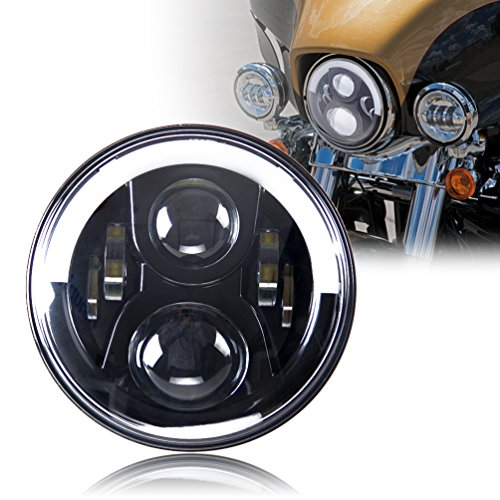 Special Design Half Halo White/Yellow 7 LED Headlight for Harley-Davidson/Royal Enfiled Headlight