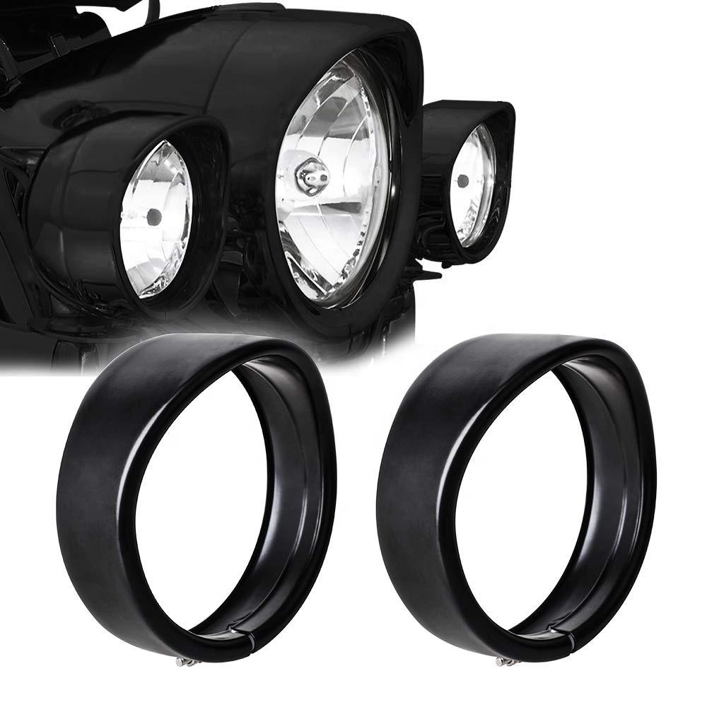 Lampu kabut Cincin trim hitam / dudukan braket chrome untuk Harley-Davison