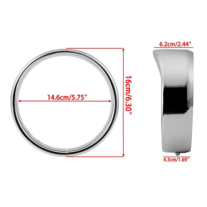 5.75/'/' Headlight Headlamp Trim Ring Protect Guard Cover Cap For Harley Chrome