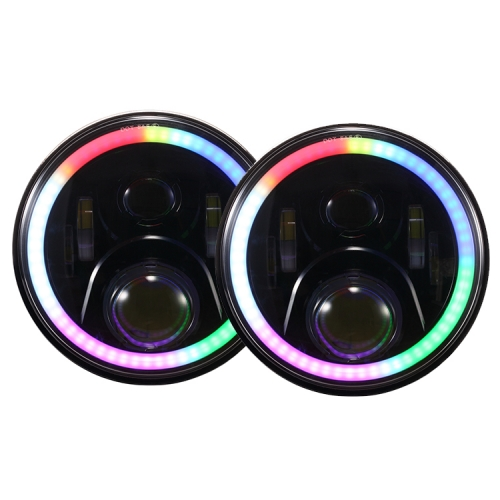7 inch jeep wrangler rgb halo headlights h4 plug color changing jeep jk rgb headlights