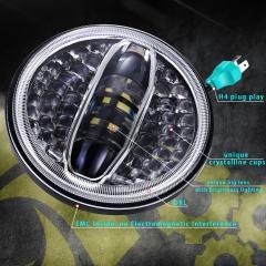 Phare à LED haute luminosité de 7 pouces pour Royal Enfield avec halo blanc à faisceau Hi Lo