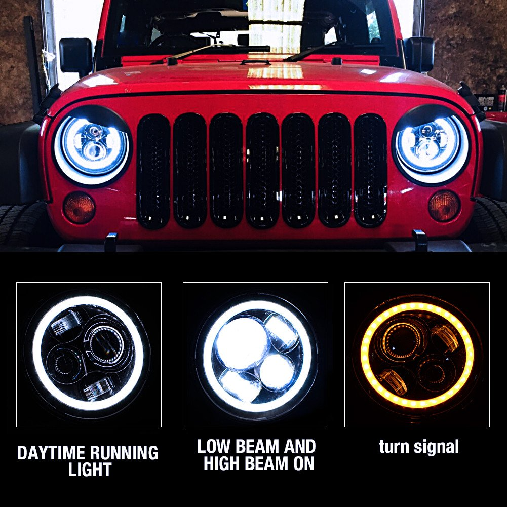 7 inch headlights for jeep wrangler application
