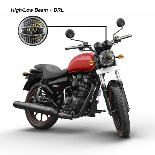 High brightness 7 inch led headlight for royal enfield with hi lo beam white halo