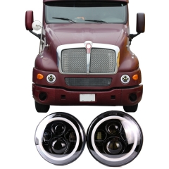 7 inch round headlights 1998-2010 kenworth T2000 led headlights halo projector headlight with hi low beam drl