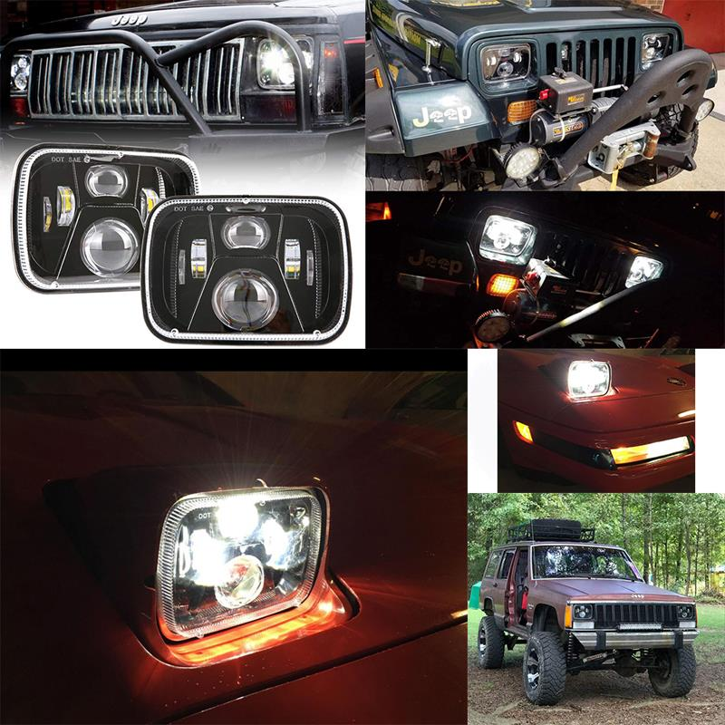 5x7 Jeep Wrangler YJ Led Headlights