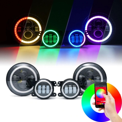 "7"" rgb jeep headlight and fog lamps kit for 2007-2016 Jeep Wrangler jk/jk unlimited bluetooth app control rgb led headlight conversion kit"