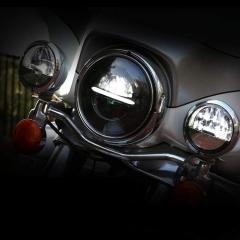 Accessoires de moto en gros 5.75 pouces phares LED avec halo blanc pour Harley