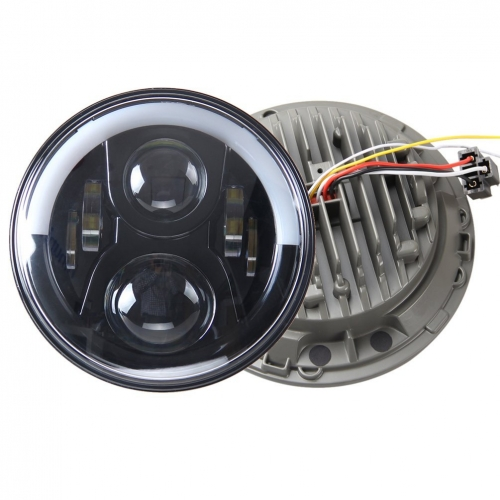 72W 7 inch Half Halo Led Headlights for Jeep Wrangler TJ 1997-2006 with High Low Beam DRL Turn Signal