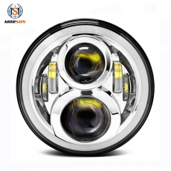 Putaran 50w DOT SAE 7 '' Jeep Wrangler JK Led Headlight Projector dengan High Low Beam