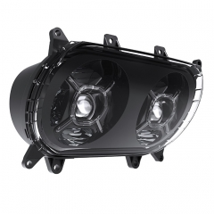 Dual LED Far Projector Lens Hi Lo Beam жана DRL Road Glide мотоцикл Led Far Glide FLTRX Ultra FLTRU Special FLTRXS