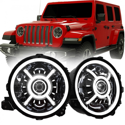"DOT SAE Approvat 9 ""Led Halo Headlights għal Jeep Wrangler JL 2018-up b'High Low Beam u Halo DRL"