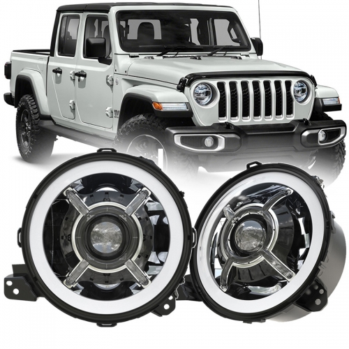 "DOT SAE Approved 2020 Jeep Gladiator JT Led Headlights 9"" with High Low Beam and Halo DRL"