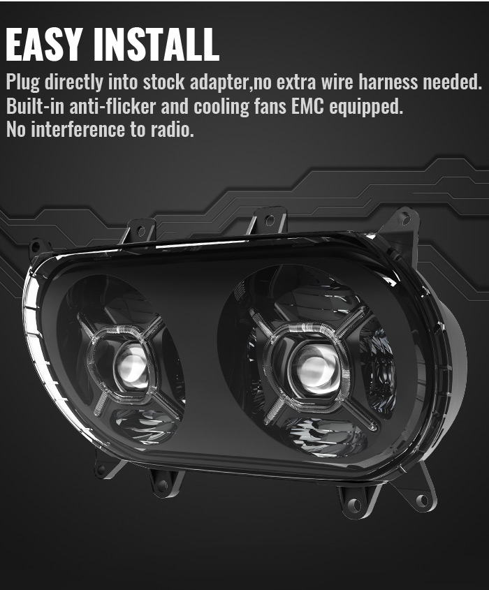 Road Glide Dual Led Headlights Easy Install