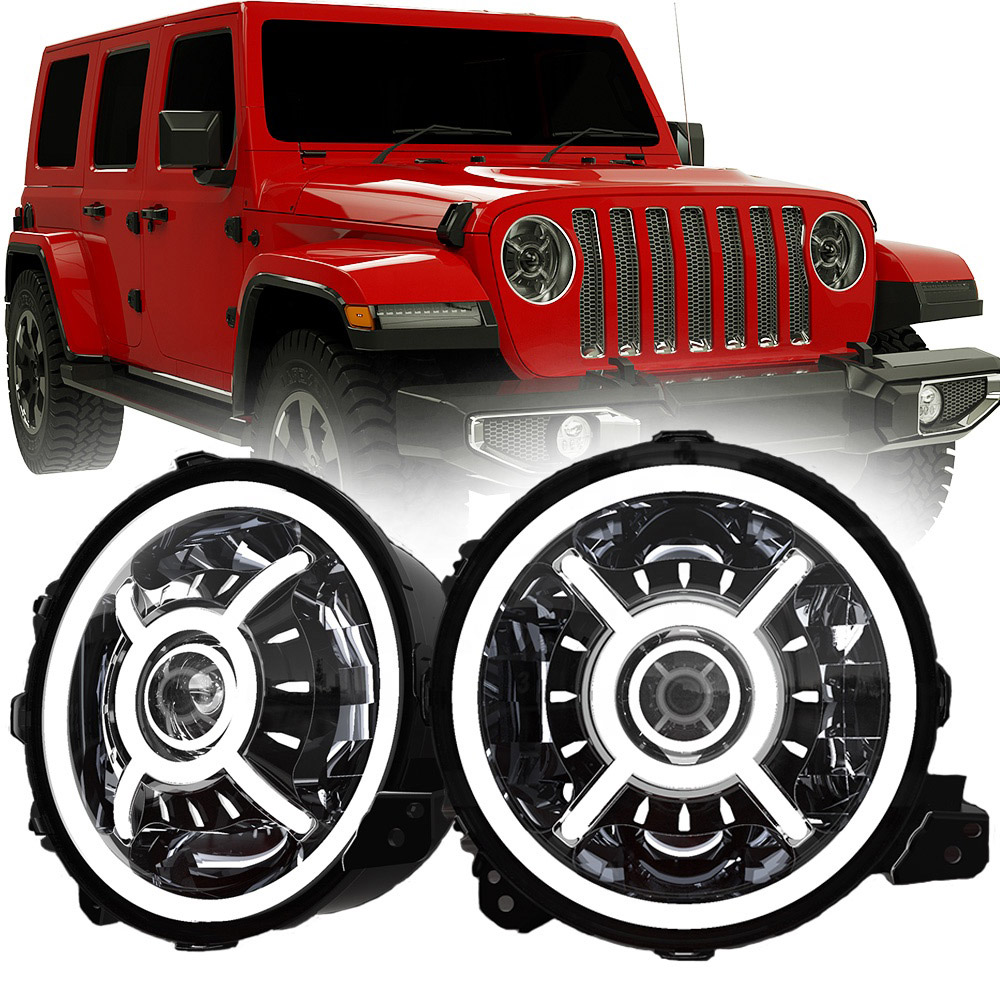 DOT SAE 9英寸 Jeep Wrangler JL Halo Headlights 2018 Led Halo Lights for Jeep Wrangler JL 2019