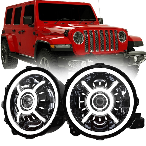 DOT SAE 9 אינטש Jeep Wrangler JL Halo Headlights 2018 Led Halo Lights for Jeep Wrangler JL 2019