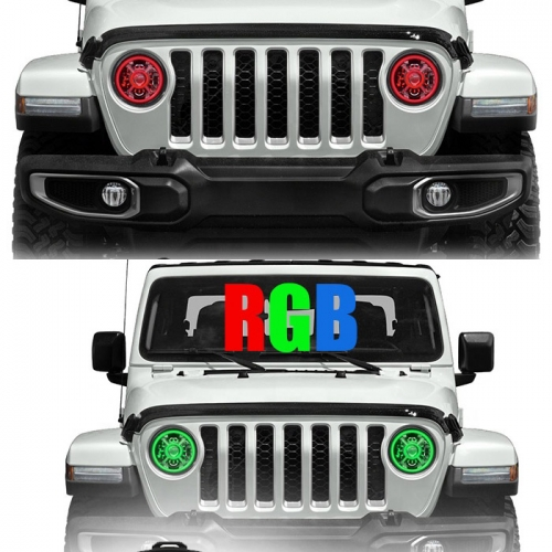 Color Changing 9 inch Jeep Wrangler JL RGB Halo Headlights Jeep Wrangler JL RGB Led Halo Lights