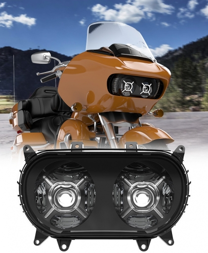 Ang Dual LED Headlight Projector Lens Hi Lo Beam ug DRL Road Glide Motorcycle Led Headlight alang sa Road Glide FLTRX Ultra FLTRU Espesyal nga FLTRXS