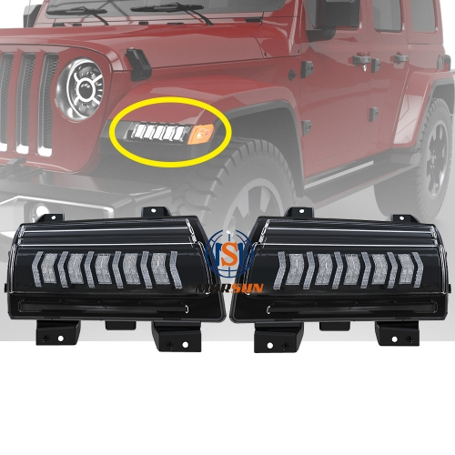 Led Daytime Running Lights with Turn Signal for 2018+ Jeep Wrangler Sahara 4-Door Rubicon 2-Door 4-Door