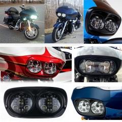 2004-2013 Harley Davidson Road Glide Daymaker Projector Headlight Black Chrome 5.75 inch Road Glide Double Led Headlight Aksesoris Motor