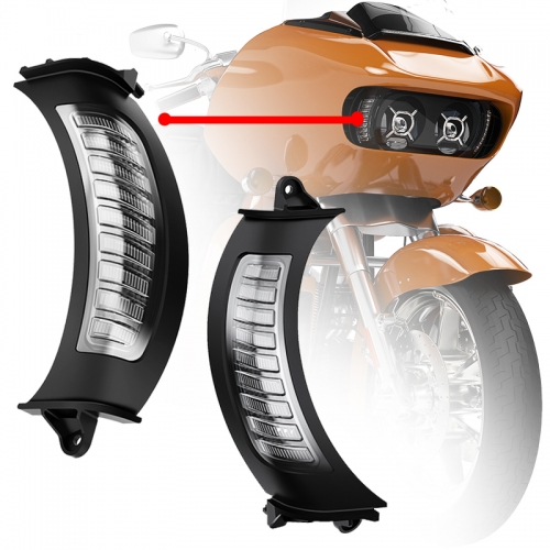 2015-2020 Harley Road Glide Front Turn Signals mat Wäiss DRL Road Glide Led Turn Signals Luuchten