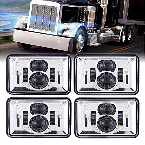 Rectangular Peterbilt 379 Headlights Assembly DOT SAE 4x6 inch Square Led Headlights for Peterbilt 379 378 357